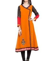 Orange embroidered georgette stitched long-kurtis