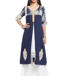 Blue embroidered cotton stitched long-kurtis