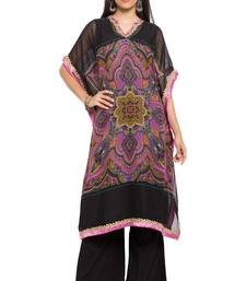 Black Printed Georgette Stitched Long Kurtis