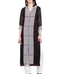 Black printed georgette stitched long-kurtis