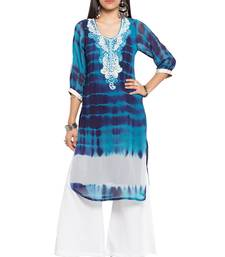 Buy Blue printed georgette stitched long-kurtis plus-size-kurtis online