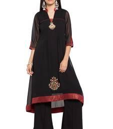 Buy Black embroidered georgette stitched long-kurtis plus-size-kurtis online