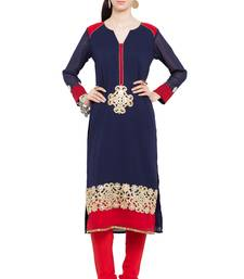 Buy Blue embroidered georgette stitched long-kurtis plus-size-kurtis online