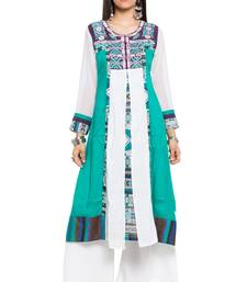 Green embroidered cotton stitched long-kurtis
