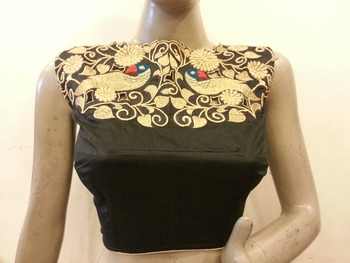 Black Dupion silk blouse with Front Zari Embroidery, Boat neck