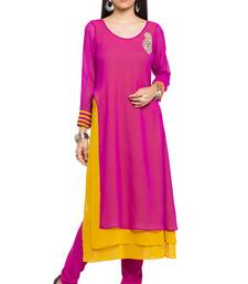 pink   embroidered georgette stitched long-kurtis