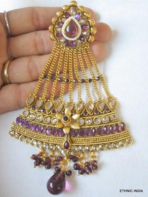 Purple Polki Gold tikka hair accessory