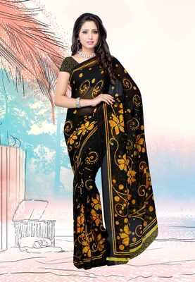 Petra Fab Black & Yellow Colored Dani Georgette Printed Saree