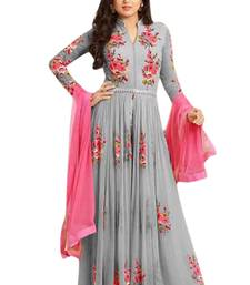 Buy grey peach embroidered semi stitched salwar with dupatta semi-stitched-salwar-suit online