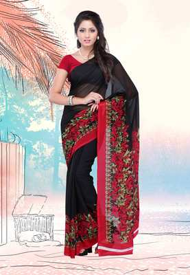 Petra Fab Black Colored Faux Georgette Printed Saree