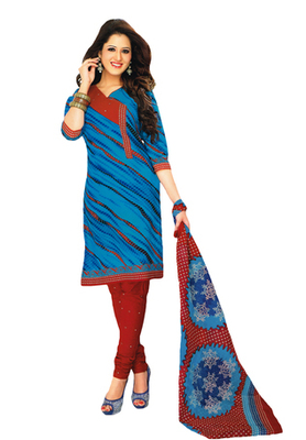 Blue & Red Cotton unstitched churidar kameez with dupatta