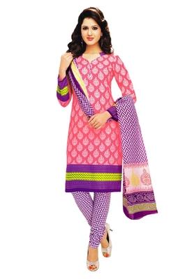 Pink & Lavender Cotton unstitched churidar kameez with dupatta