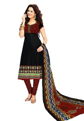 Black & Maroon Cotton unstitched churidar kameez with dupatta