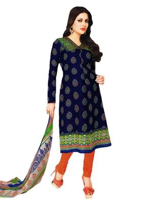 Blue & Orange Cotton unstitched churidar kameez with dupatta
