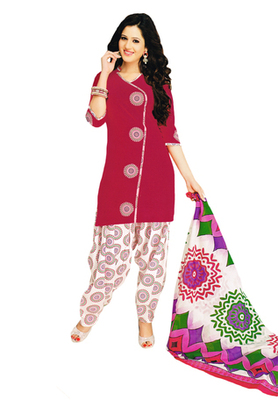 Pink & White Cotton unstitched churidar kameez with dupatta