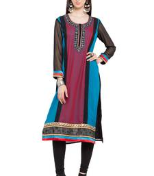 Blue Printed Georgette Stitched Long Kurtis
