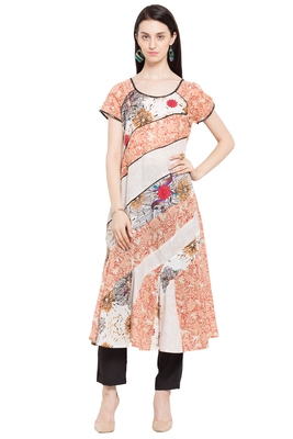 Beige Printed Cotton Stitched Long Kurtis