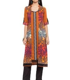 Orange printed cotton stitched long-kurtis