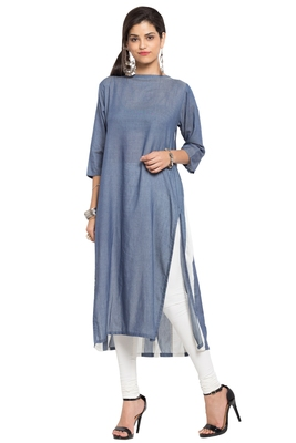 Grey plain cotton stitched long-kurtis