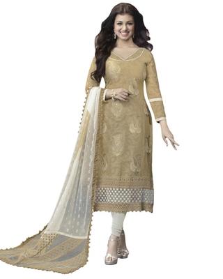 Beige & Off White Cotton unstitched churidar kameez with dupatta