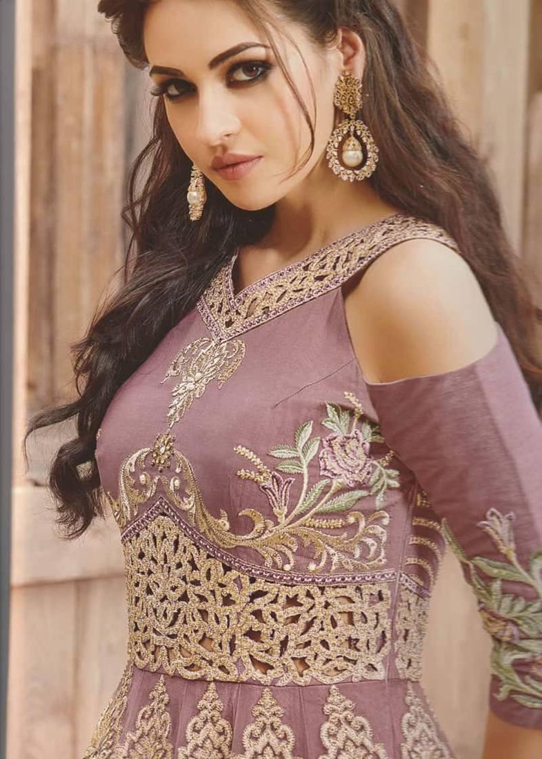 Buy Lavender Net Embroidered Semi Stitched Salwar With Dupatta Online Kemeja Contrast Multicolor Shop At Velvet