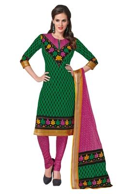 Green & Pink Cotton unstitched churidar kameez with dupatta