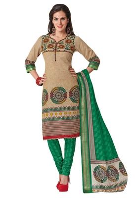 Fawn & Green Cotton unstitched churidar kameez with dupatta