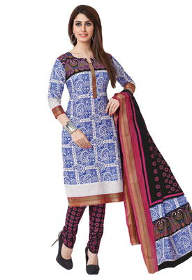 Blue & Pink Cotton unstitched churidar kameez with dupatta