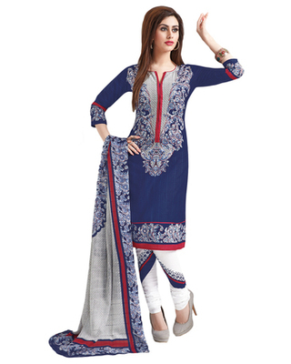 Blue & White Cotton unstitched churidar kameez with dupatta