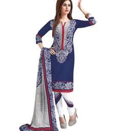 Buy Blue & White Cotton unstitched churidar kameez with dupatta dress-material online