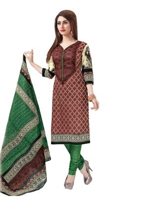 Brown & Green Cotton unstitched churidar kameez with dupatta