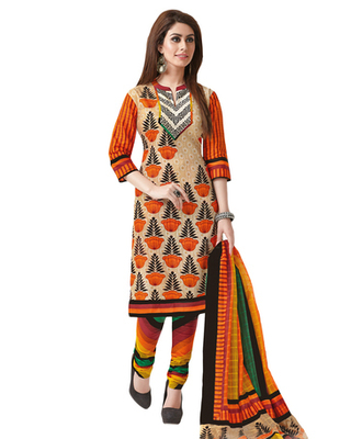 Fawn & Orange Cotton unstitched churidar kameez with dupatta