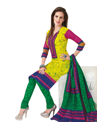 Fluorescent Yellow & Green Cotton unstitched churidar kameez with dupatta