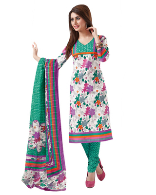 White & Green Cotton unstitched churidar kameez with dupatta