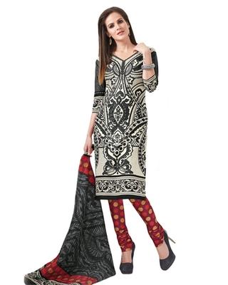 Fawn & Maroon Cotton unstitched churidar kameez with dupatta