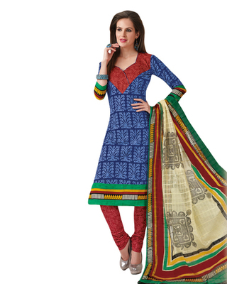 Blue & Maroon Cotton unstitched churidar kameez with dupatta