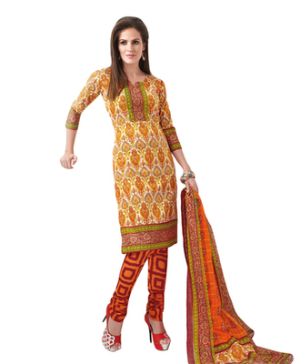 Yellow & Orange Cotton unstitched churidar kameez with dupatta