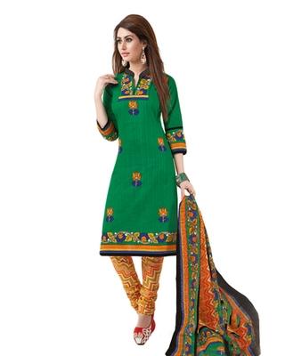 Green & Orange Cotton unstitched churidar kameez with dupatta