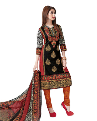 Red & Black Cotton unstitched churidar kameez with dupatta