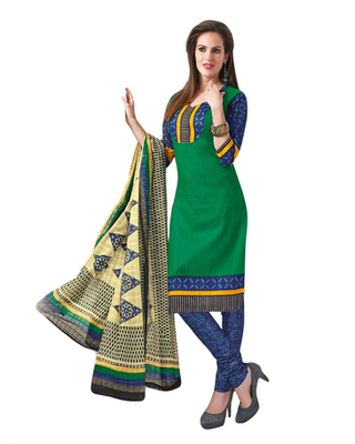 Green & Blue Cotton unstitched churidar kameez with dupatta