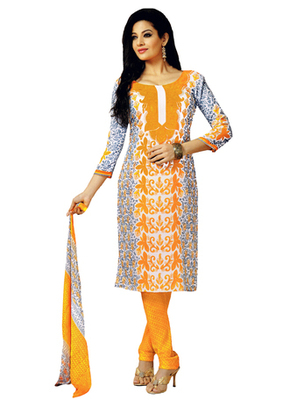 Orange & Grey Art Crepe unstitched churidar kameez with dupatta