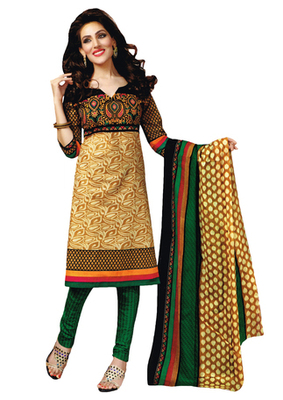 Beige & Green Art Crepe unstitched churidar kameez with dupatta