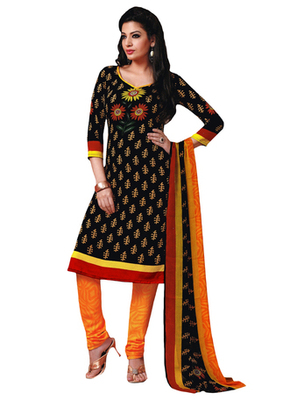 Black & Orange Art Crepe unstitched churidar kameez with dupatta