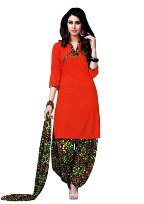 Red  Art Crepe unstitched churidar kameez with dupatta