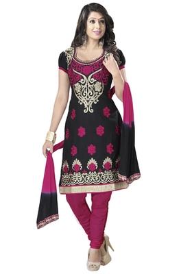 Black & Pink Cotton unstitched churidar kameez with dupatta