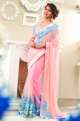 Peach Georgette & Net combo cut work saree in peach border & pallu-SR6031