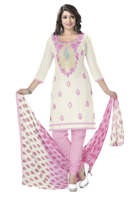 Off White & Pink Cotton unstitched churidar kameez with dupatta