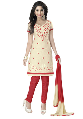 Fawn & Red Cotton unstitched churidar kameez with dupatta