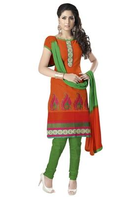 Orange & Green Cotton unstitched churidar kameez with dupatta