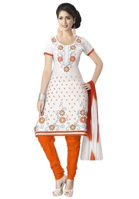 White & Orange Cotton unstitched churidar kameez with dupatta
